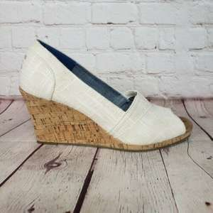 Toms Stella Cork & Canvas Wrap Wedge Heels